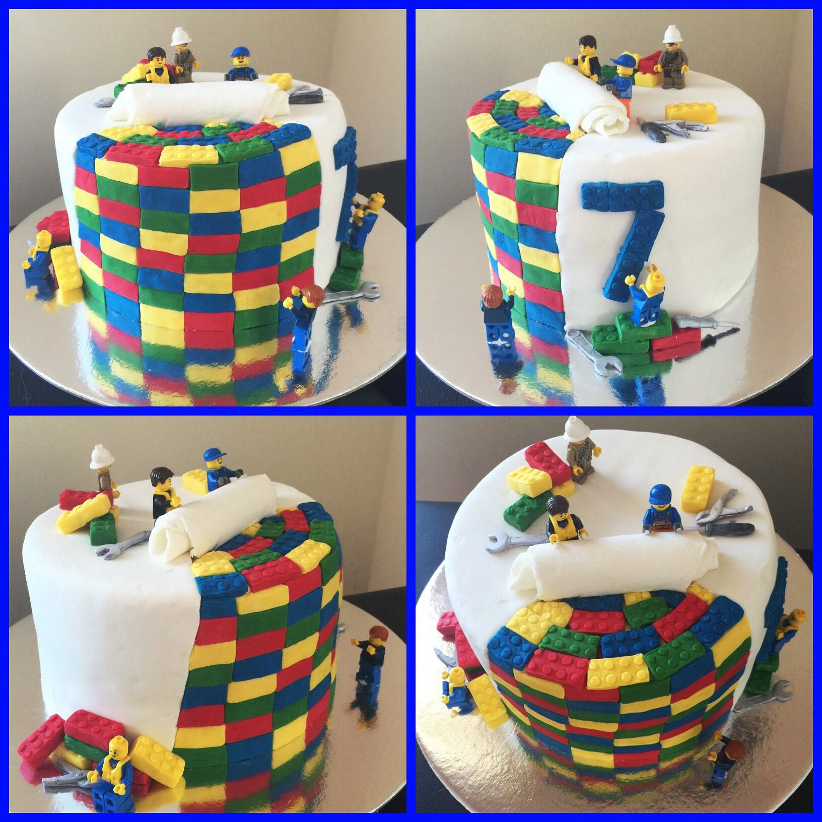 Lego Cake Made For A 7 Year Old Boy S Birthday Buy A Lego Fondant