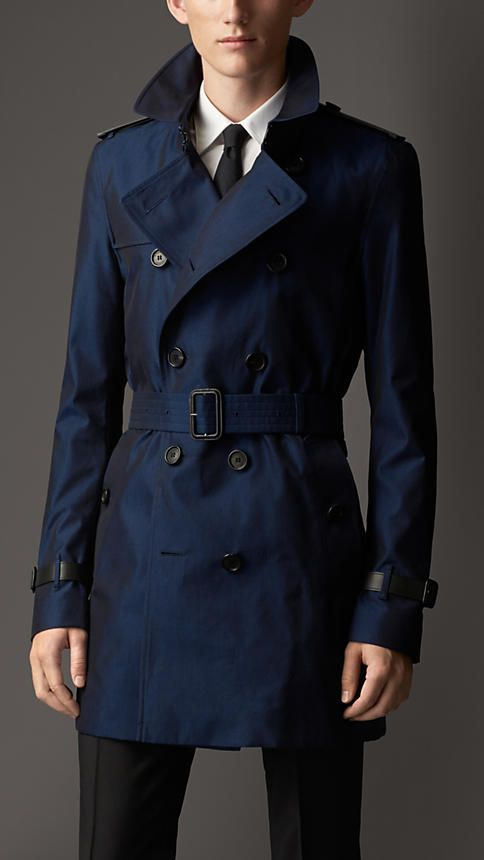 534c6fdf100 Bright regency blue Leather Detail Cotton Gabardine Trench Coat - Image 1