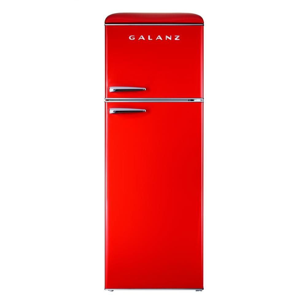 Galanz 12 0 Cu Ft Top Freezer Retro Refrigerator With Dual Door True Freezer Frost Free In Red In 2020 Retro Refrigerator True Freezer Refrigerator