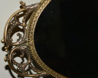 Vintage mirror wall hanging mirror oval mirror gold frame mirror Vintage oval shape very beautiful mirror with metal frame... $39.99 USD BayAntiques