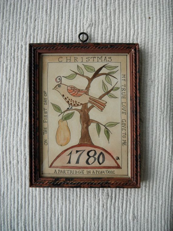 Partridge in a Pear Tree Fraktur by primitivehand on Etsy, $78.00