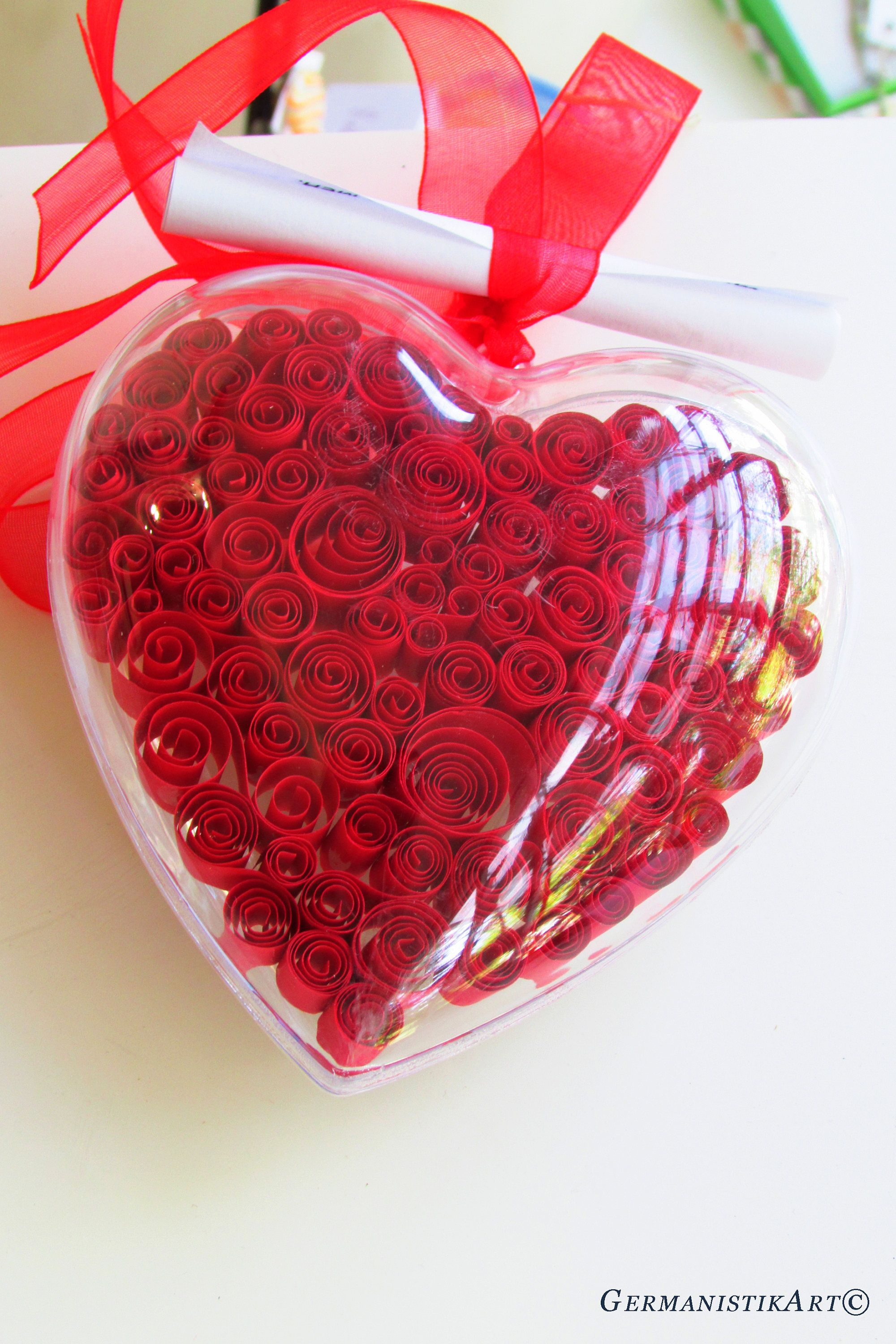 Red Heart Decoration Paper Quilling Love Ornament