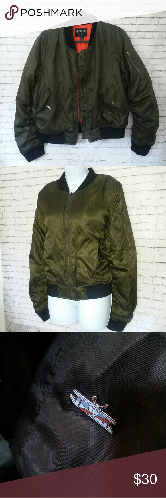 Red Fox Army Green Military Bomber Jacket Red Fox Army Green Military Bomber Jacket Ma 1 Style In Xl Army Military Bomber Jacket Bomber Jacket Army Green [ 1740 x 580 Pixel ]