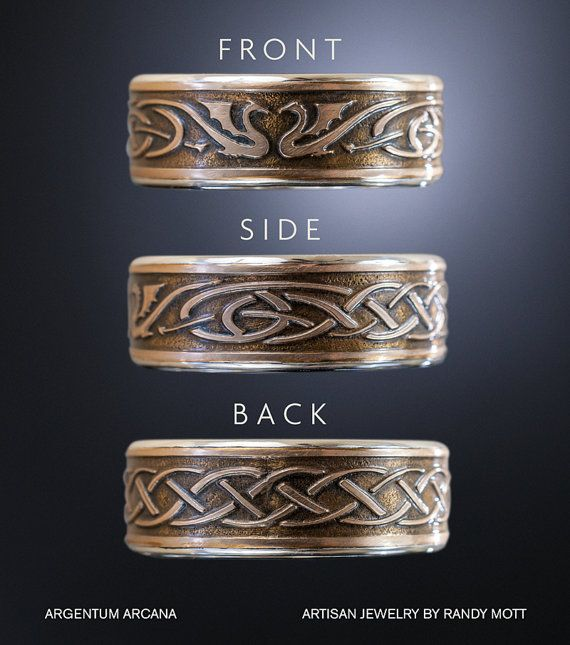 Dragon Wedding Ring Set Celtic Wedding Bands Unique Wedding Bands