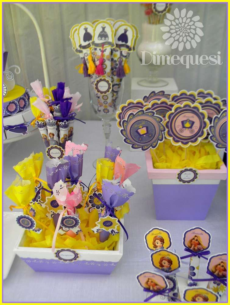 Sofia and Rapunzel birthday party treats! See more party planning ideas at CatchMyParty.com!