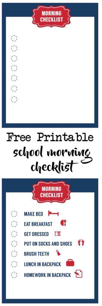 School Morning Routine Checklist Free Printable Free printable - printable checklist