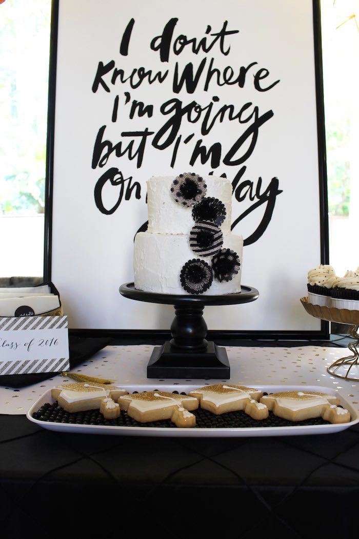 Black White Gold Graduation Party Kara S Party Ideas