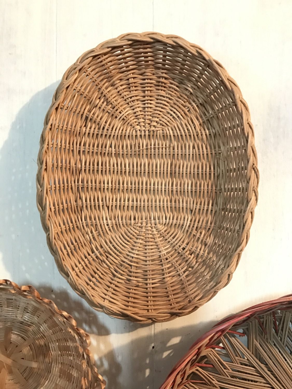 Elegant Woven Rattan Basket   Small Oval Basket Tray   Wicker Boho Wall Decor By  Ninedoorsvintage On Home Design Ideas