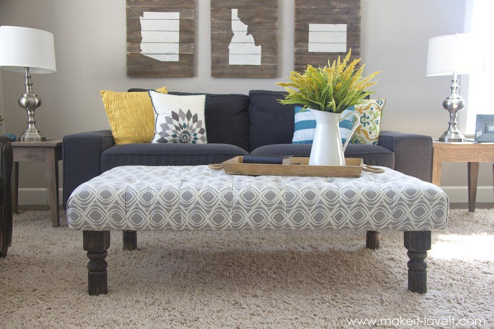Captivating DIY~ Tufted Coffee Table Bench | Tufted Ottoman Coffee Table, Painted  Benches And Repurposed Furniture