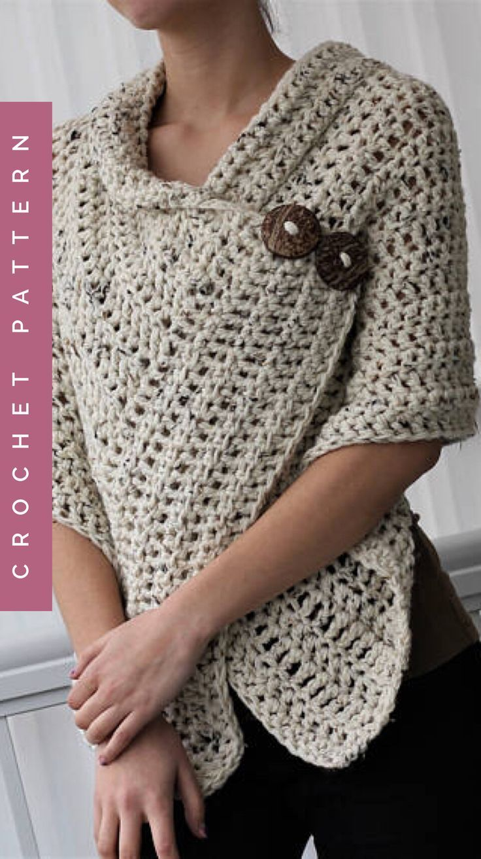 Easy Crochet Women s Sweater Wrap Scarf pattern #crochetwrappattern ...