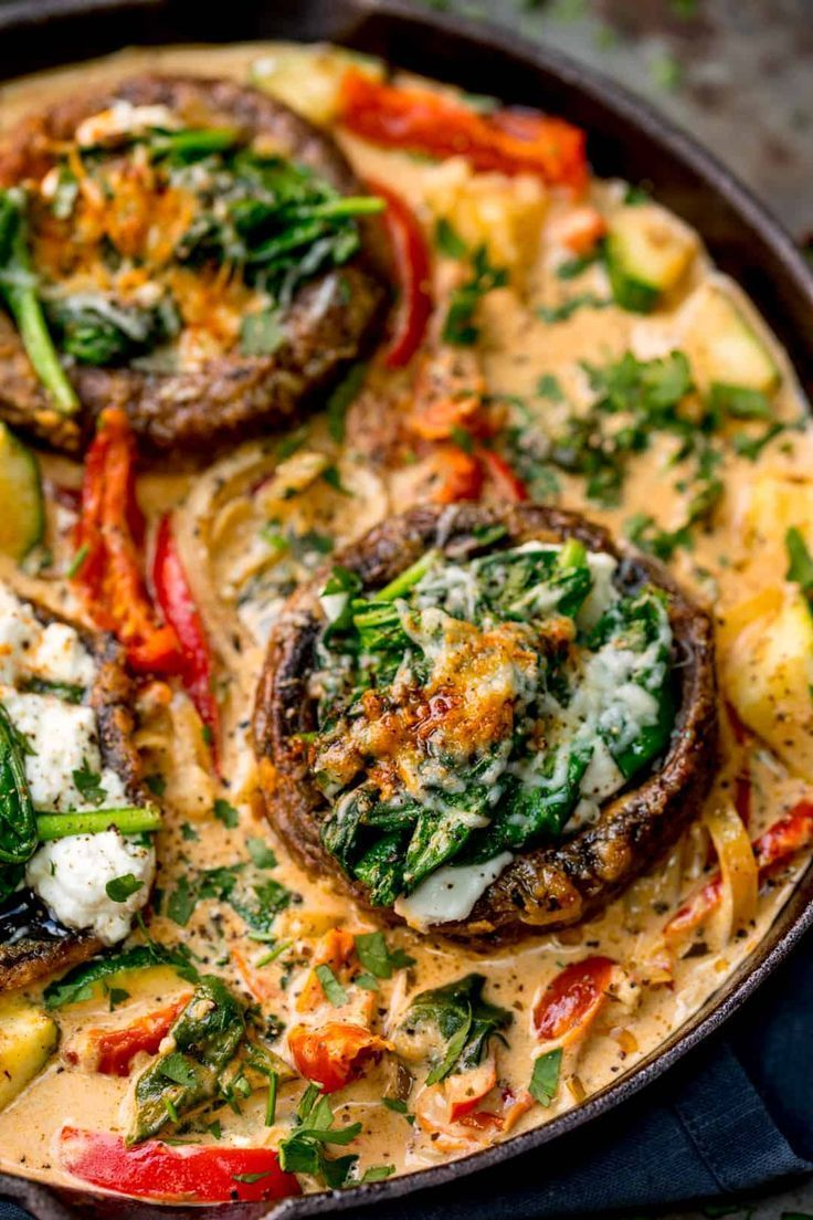 Tuscan Style Stuffed Mushrooms in Creamy Sun Dried