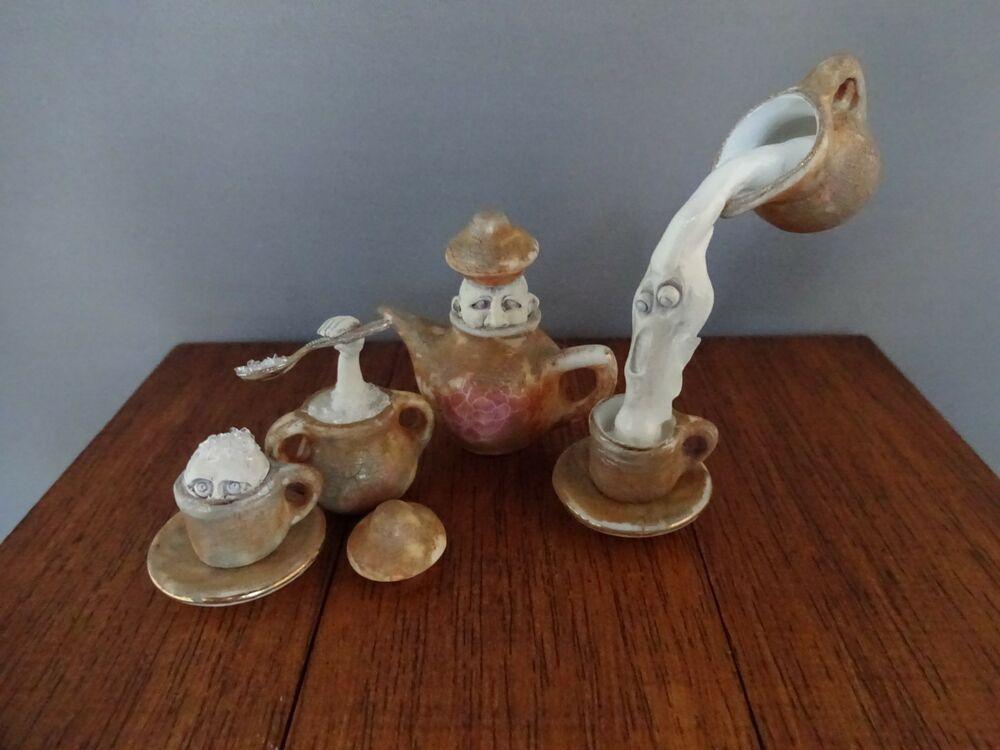 Ghost Tea set Witch Haunted dollhouse Miniature Pat Benedict OOAK Halloween Mini #haunteddollhouse