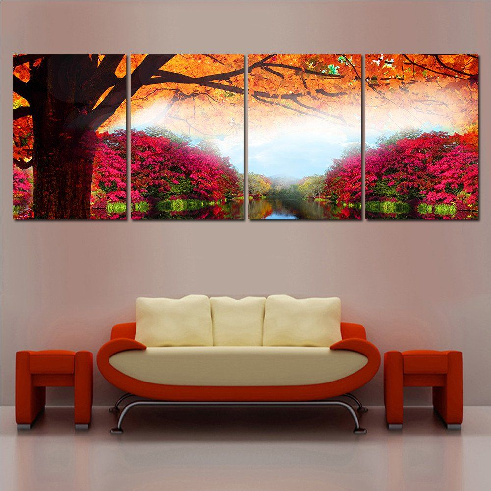 Paintings For Living Room Wall Modern Printed Tree Painting Oil Picture Cuadros Decoracion Wall