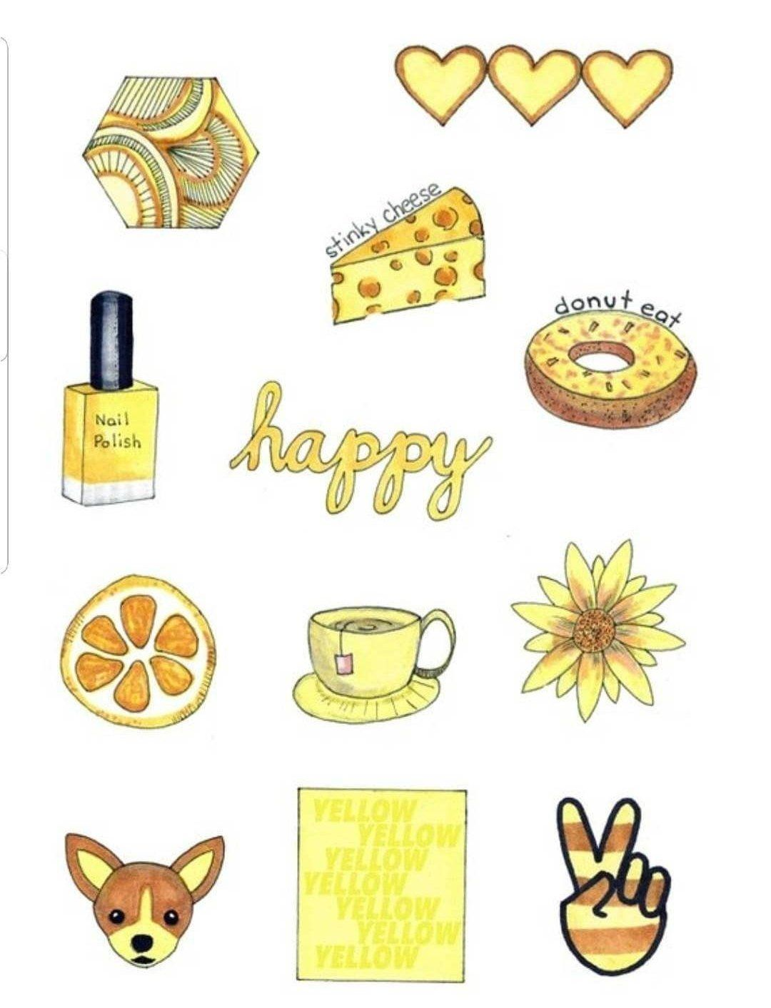 Mini yellow aesthetic sticker pack by designbychesa on etsy