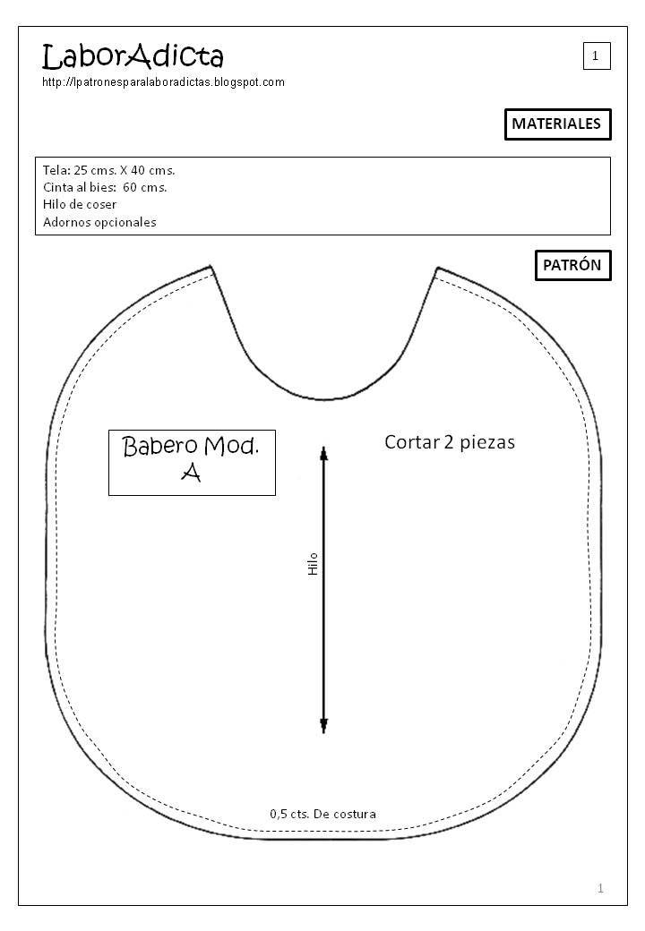 Bienvenid@s a LaborAdicta: Cómo hacer un Babero | Baby | Pinterest