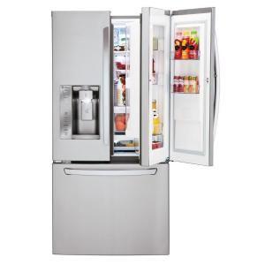 Lg Electronics 24 4 Cu Ft French Door Refrigerator With Door In Door In Stainless Steel Lfxs24663s The Home Depot French Doors French Door Refrigerator Refrigerator