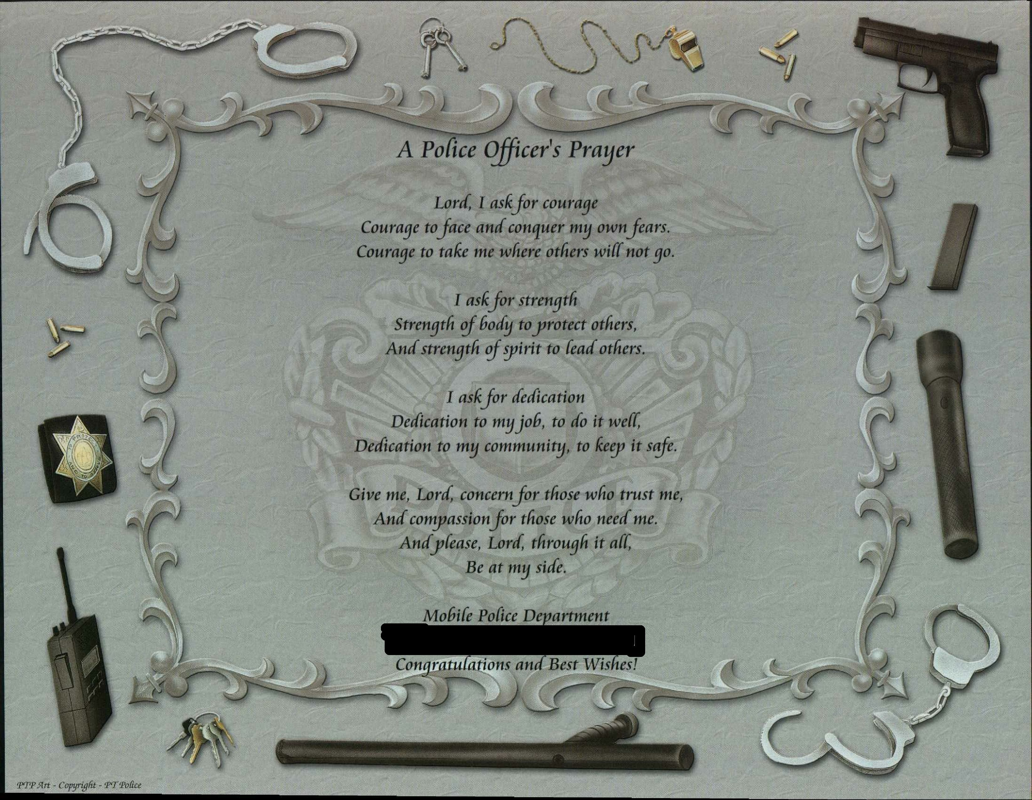 A Police Officer's Prayer on Police1 background with
