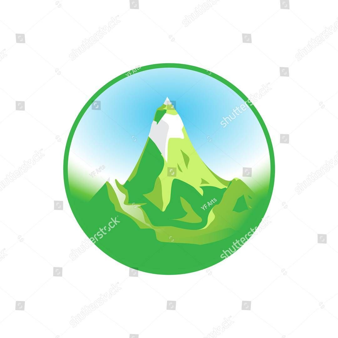 Emblem Of Green Snowy Mountain Vector Art Website Everest Print Map Eco Rock Business Sign Presentation Symbol Shadow Studio