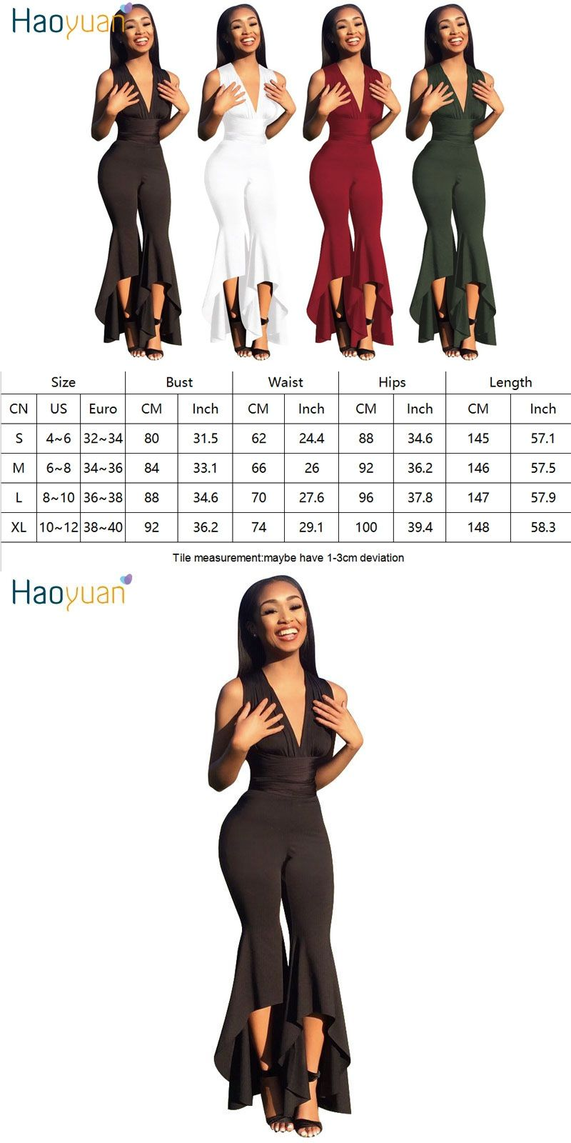 HAOYUAN Wide Leg Bodycon Jumpsuit Deep-V Summer Full Bodysuit Bodies Woman  Sexy Club Party Black White Rompers Womens Jumpsuit 1e2684cb7