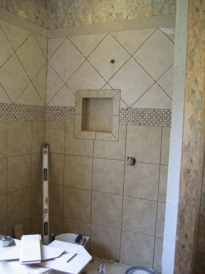 Tile borders for showers | Marble mosaic border in shower - sealing ...