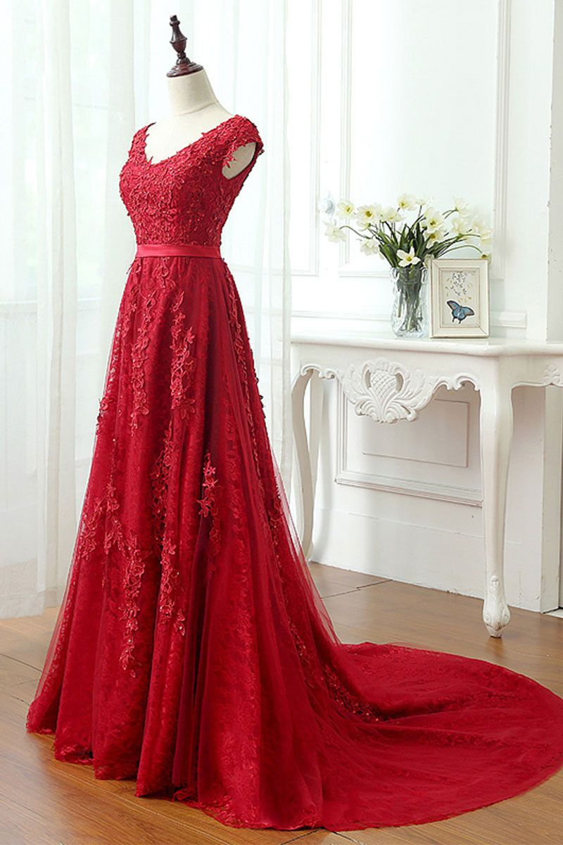 Long red dress for wedding  Red lace tulle long prom dress red lace evening dress  Red lace