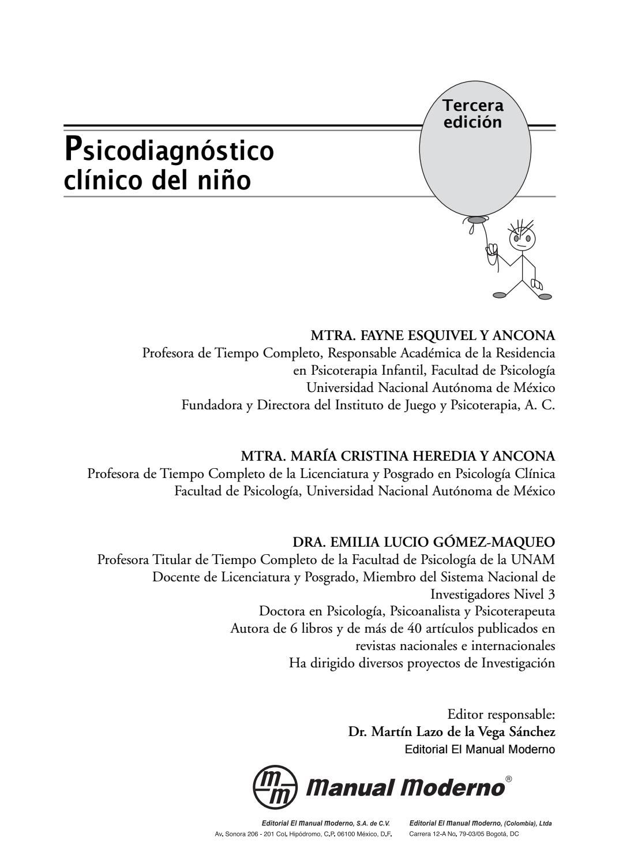 Psicodiagnóstico clínico del niño (3ra ed ), esquivel, heredia, y ...