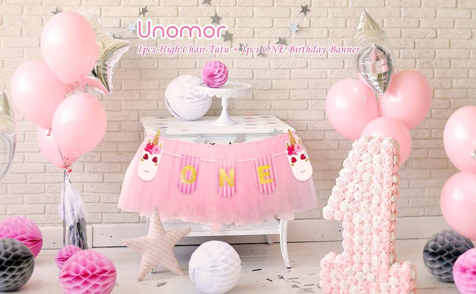 999 Amazon 1st Birthday Decorations For Girls Unicorn ONE Banner With High