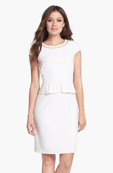 Tahari Chain Detail Stretch Crepe Peplum Sheath Dress available at #Nordstrom
