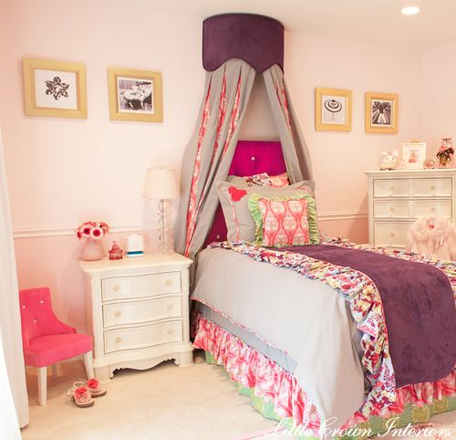 A #pink #toddler room gets an upgrade with this regal #canopy.