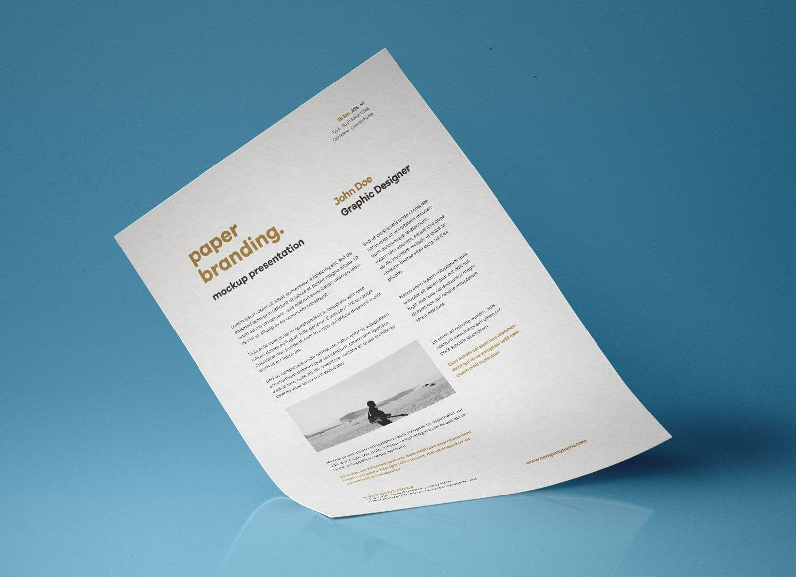 Free A4 Flyer Resume Paper Mockup PSD