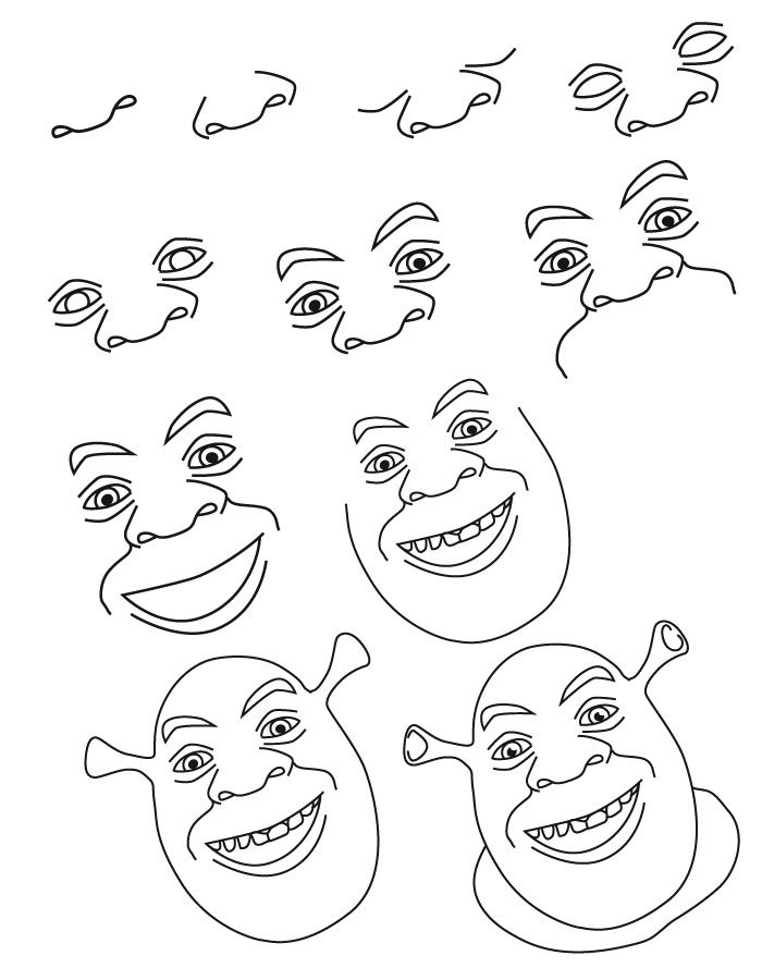 Dessin shrek drawing in 2018 pinterest dessin - Apprendre a dessiner disney ...