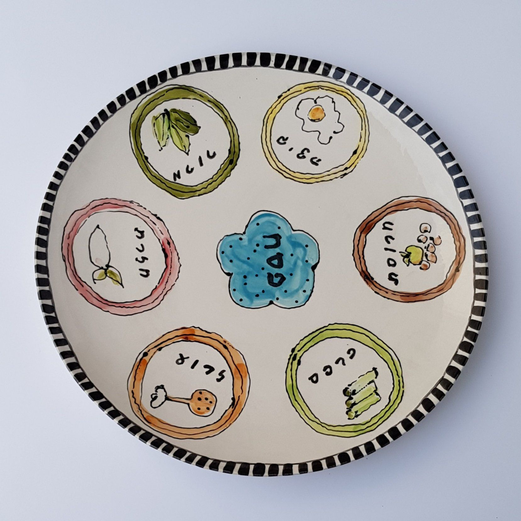 Ceramic Hand Painted Passover Seder Plate With Images