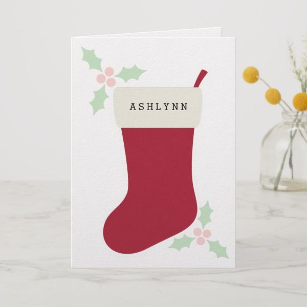 Personalized Christmas Stocking Granddaughter Card in 2018 ***SELL