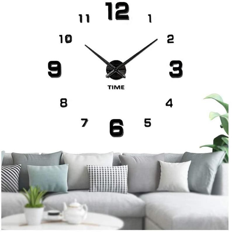 Large Frameless Wall Clock Sticker Diy Wall Clock Kit Home Etsy In 2020 Wall Clock Kits Diy Clock Wall Wall Clock Sticker