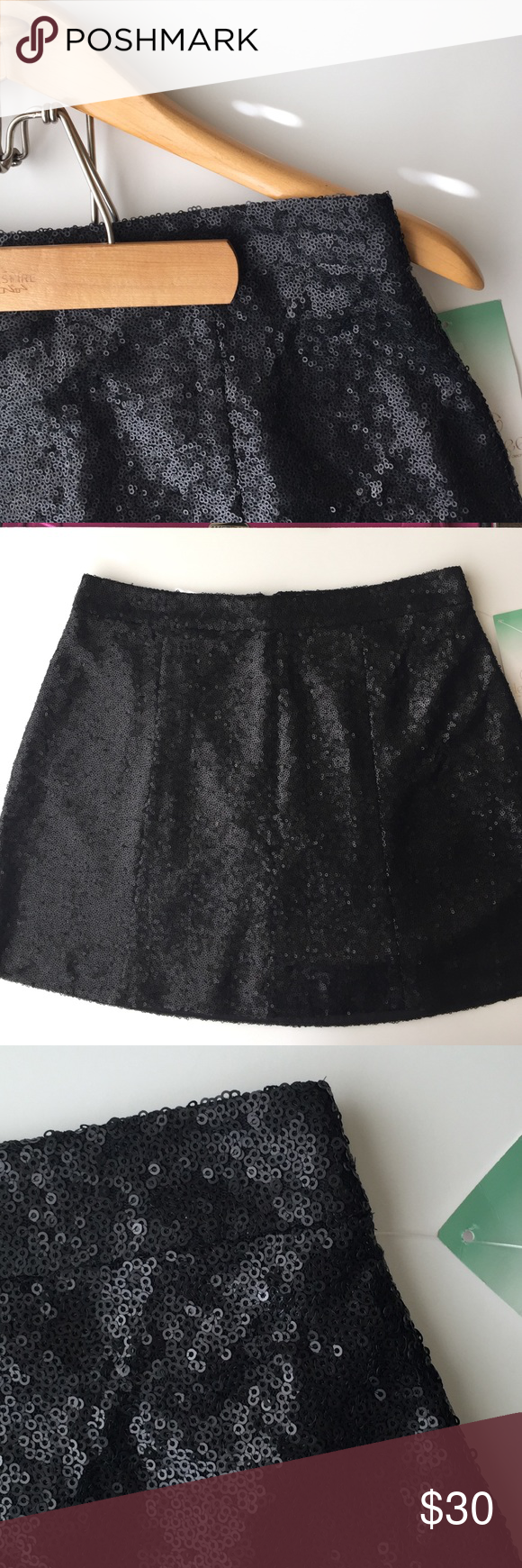 "Black Sequin Skater Skirt NWT M Black sequined skater skirts by Decree. Fully lined with back zip. M - 14"" waist; 16"" length. XL - 17"" waist; 17"" length. NWT Decree Skirts Mini"