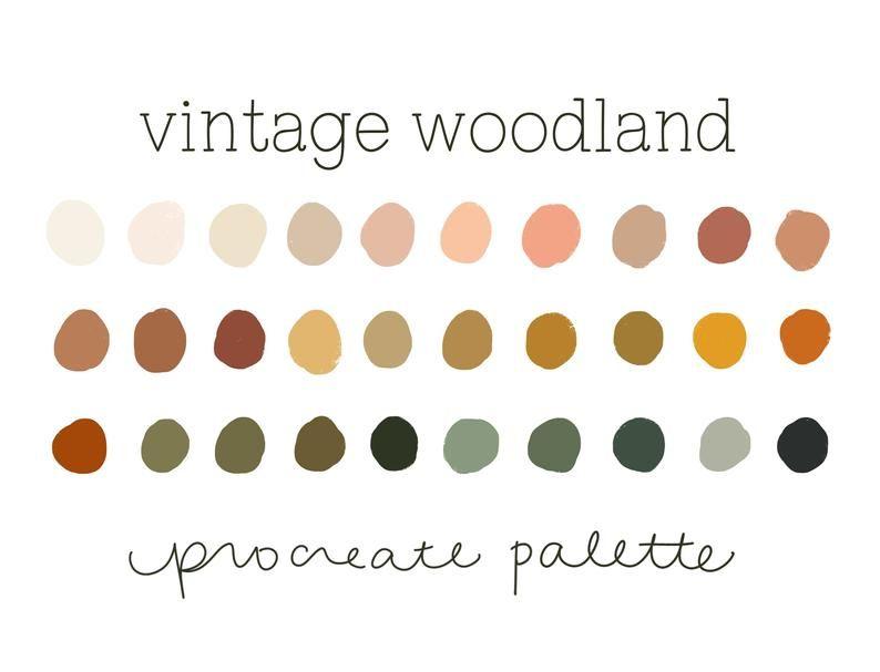 Vintage Woodland Procreate Color Palette Procreate Palette Etsy In 2020 Color Palette Vintage Colour Palette Fall Color Palette