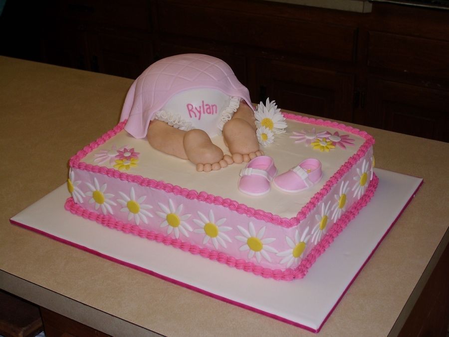 Pink Baby Bottom With Images Baby Shower Sheet Cakes Baby