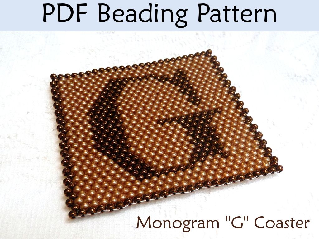 Beaded Peyote Monogram Coaster PDF Beading Pattern