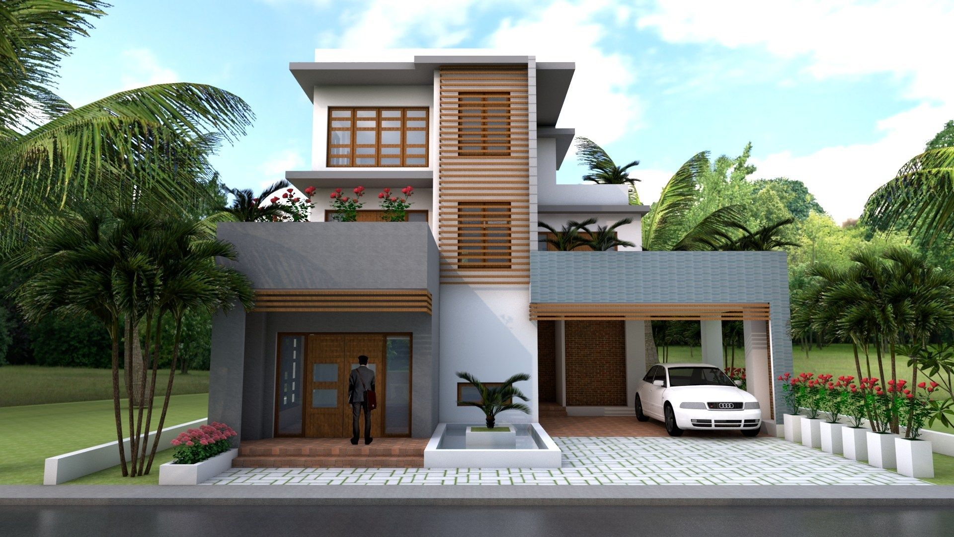 Sketchup Modern 4 Bedrooms Home Plan 11x12m Samphoas Com House Plans Three Story House Cool House Designs