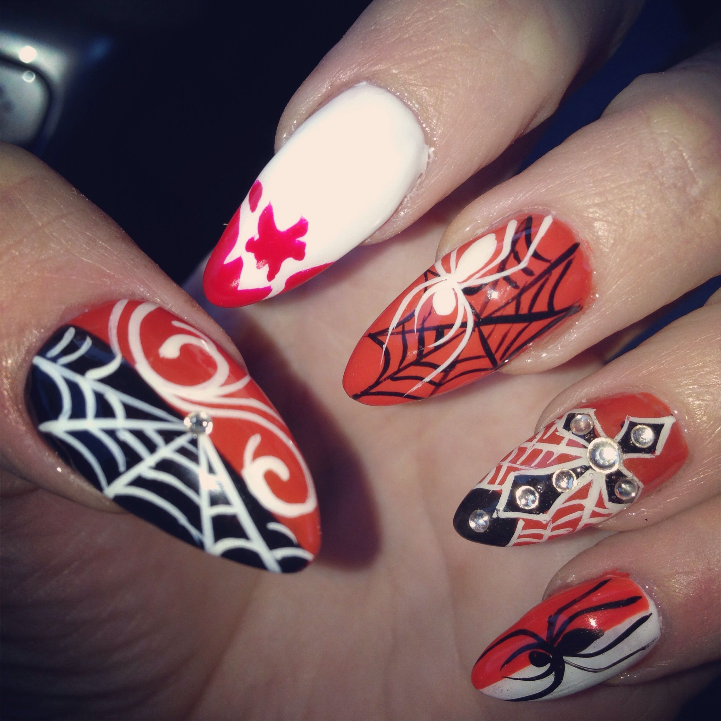 Halloween pointy nails | Pointy nails, Swag nails ...