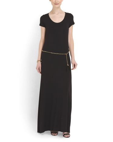 Long Dress With Chain Belt