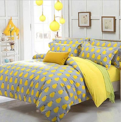Gray And Yellow Single Queen King Size Bed Pillowcase Quilt Duvet Cover Set Yellow And Gray Bedding Duvet Bedding Sets Duvet Cover Sale