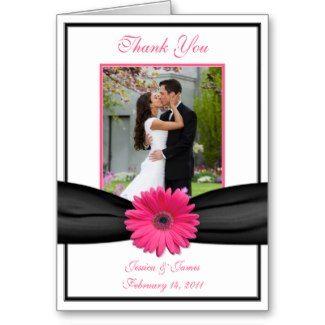 Pink Gerbera Daisy Wedding Thank You Card card