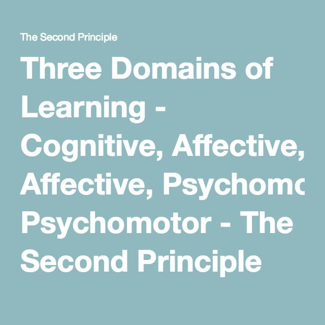Three Domains of Learning - Cognitive, Affective, Psychomotor - The