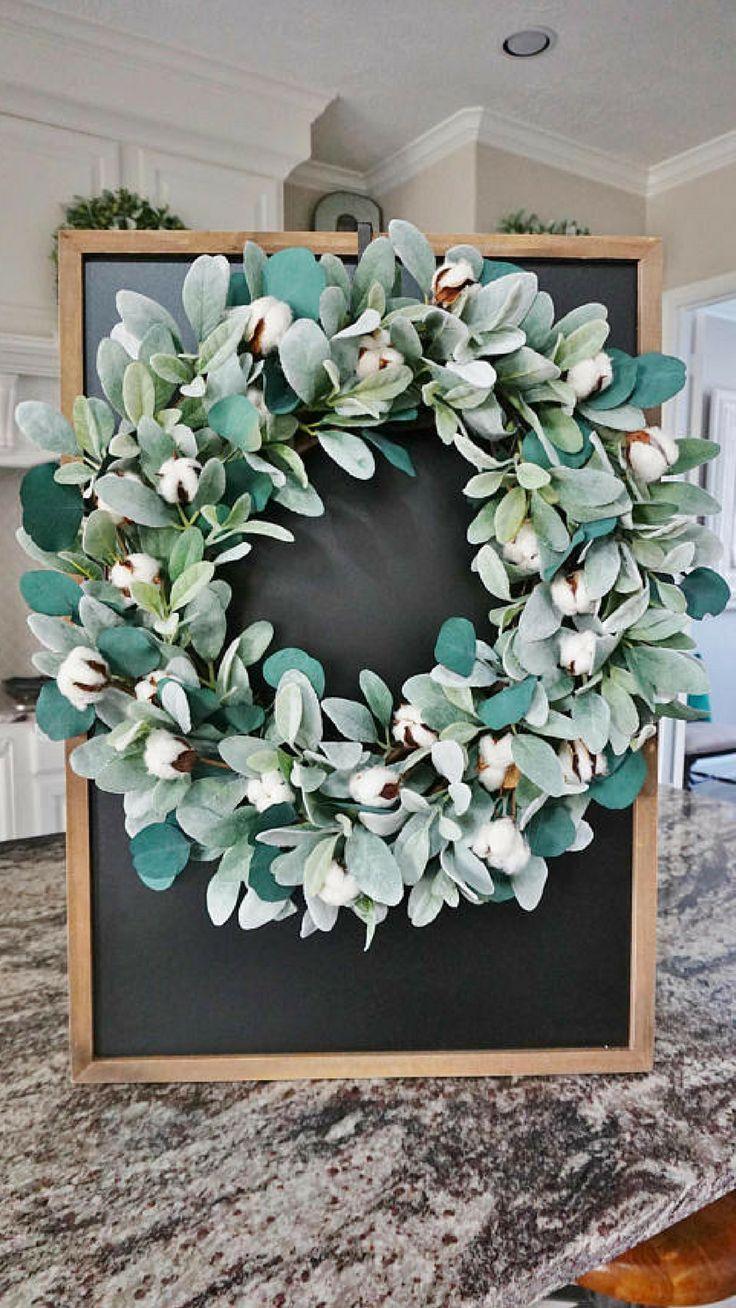 Rustic Farmhouse Cotton Lamb S Ear And Eucalyptus Wreath