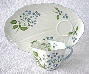 Shelley Dainty American Brooklime Snack Set Cup And Fitted Plate Snack