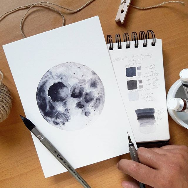 Moon Watercolor Painting Study No 3 I Only Used 2 Paints