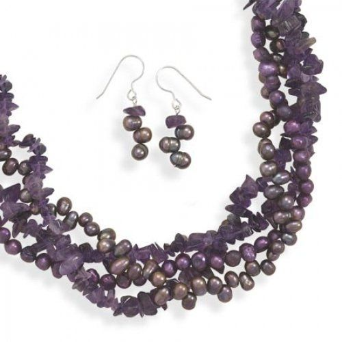 65363e4460200d MMA Silver - Amethyst and Cultured Freshwater Pearl Necklace and Earring Set  MMA Silver. $75.00