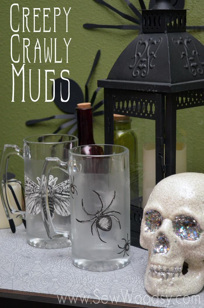 Creepy Crawly Mugs from SewWoodsy #MarthaStewartCrafts - martha stewart halloween ideas