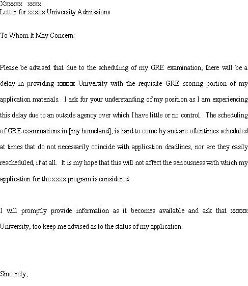 Good Cover Letter Explaining Gre Score Report Delay  Best Resume